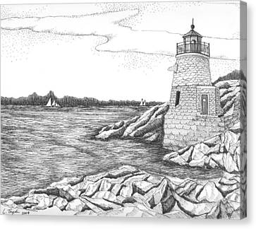 Castle Hill Lighthouse Canvas Print by Lawrence Tripoli