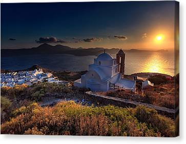 Castle In Milos At Plakas Canvas Print by Andres Leon