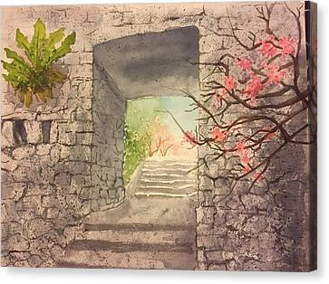 Castle In Spring Canvas Print by Elizabeth Gomez