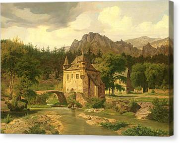 Castle In The Mountains Canvas Print by Carl Dahl