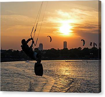 Castle Island Kite Boarder Boston Ma Sunset Canvas Print by Toby McGuire