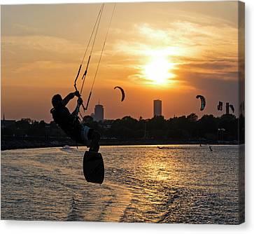 Castle Island Kite Boarder Boston Ma Sunset Canvas Print