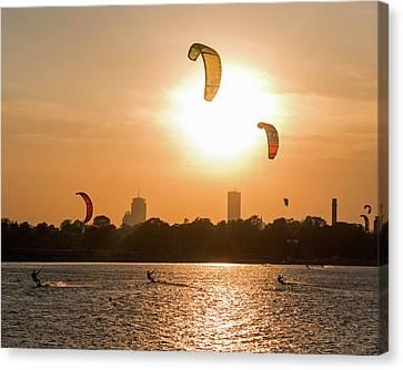 Castle Island Kite Boarders Boston Ma Sunset Canvas Print