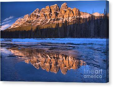 Canvas Print - Castle Mountain Afternoon Icy Reflections In The Bow River by Adam Jewell