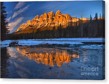 Castle Mountain Icy Afternoon Reflections Canvas Print
