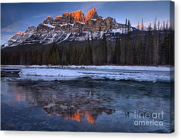Canvas Print - Castle Mountain Icy Pink Reflections by Adam Jewell