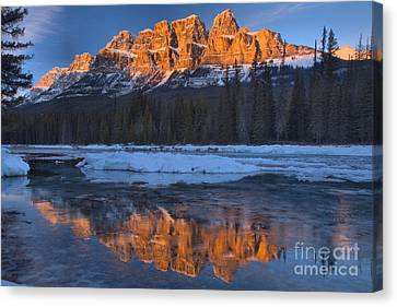 Canvas Print - Castle Mountain Red Winter Reflections by Adam Jewell