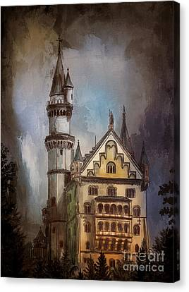 Canvas Print featuring the painting Castle Neuschwanstein by Andrzej Szczerski