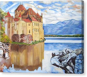 Castle Of Chillon Canvas Print by John Keaton