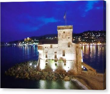 Canvas Print - Castle Of Rapallo At Night by Marilyn Dunlap