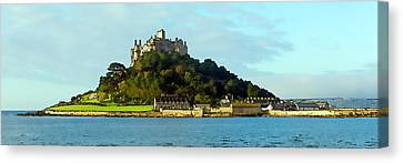 Castle On An Island St Michaels Mount Marazion Cornwall England Uk Medieval Canvas Print