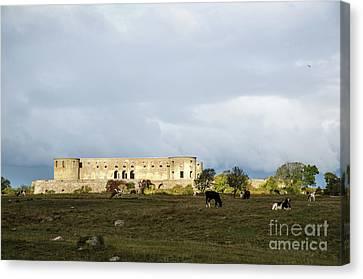 Canvas Print featuring the photograph Castle Ruin In Spotlight by Kennerth and Birgitta Kullman