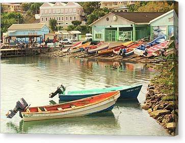 Castries Harbor Waterfront Canvas Print by Roupen  Baker