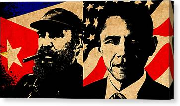 Castro And Obama Canvas Print
