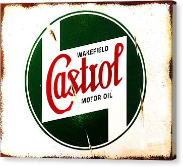 Vintage Sign Canvas Print - Castrol Motor Oil by Mark Rogan
