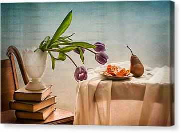 Casual Morning With Tulips, Orange And Pear Canvas Print