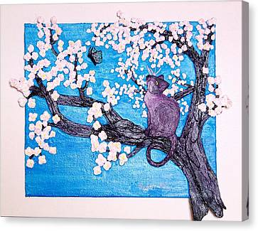 Cat Among The Cherry Blossoms Canvas Print