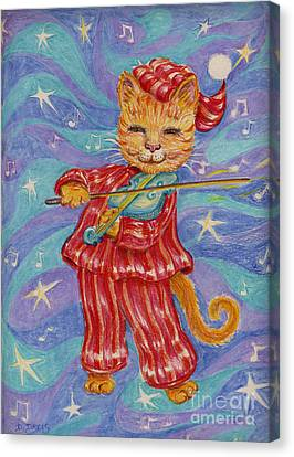 Canvas Print featuring the drawing Cat And A Fiddle by Dee Davis