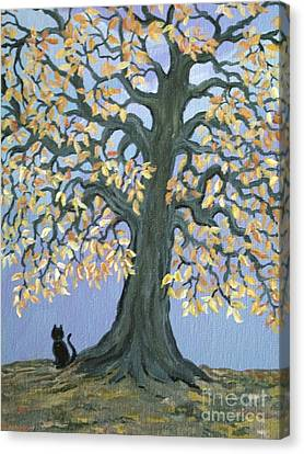 Cat And Crow Canvas Print by Nick Gustafson