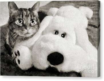 Cat And Dog In B W Canvas Print by Andee Design