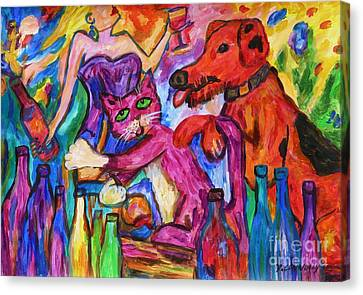 Red Cat Wine Canvas Print - Cat And Dog Party Down by Dianne  Connolly