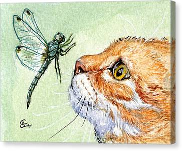 Cat And Dragonfly  Canvas Print by Svetlana Ledneva-Schukina