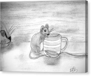 Cat And Mouse Canvas Print by Laura DAddona