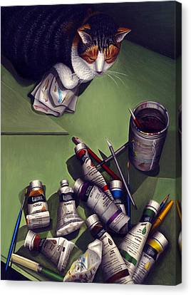Cat And Paint Tubes Canvas Print by Carol Wilson