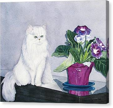 Cat And Potted Plant Canvas Print by Sharon Farber