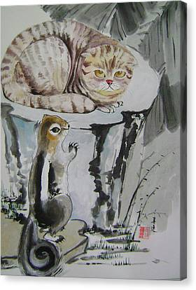 Cat And Squirrel Canvas Print by Lian Zhen