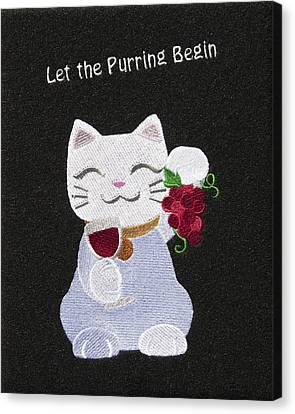 Red Cat Wine Canvas Print - Cat And Wine by Sally Weigand