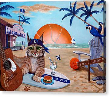 Surfboard Canvas Print - Cat-aritaville by Jeff Conway