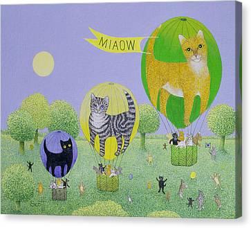 Cat Balloon Race Canvas Print by Pat Scott