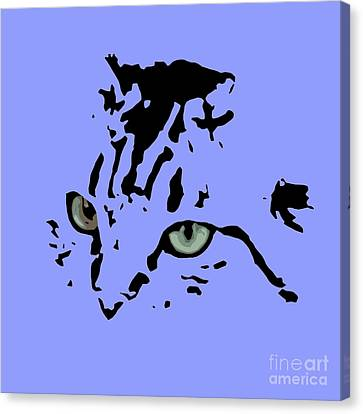 Cat Black Abstract Art Purple Background Canvas Print by Pablo Franchi