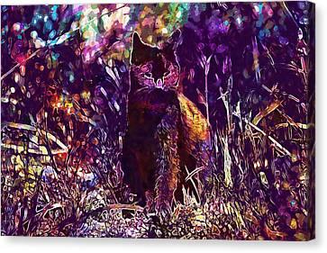 Canvas Print featuring the digital art Cat Black Sun Meadow  by PixBreak Art