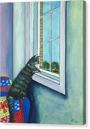 Cat By The Window Canvas Print by Anastasiya Malakhova