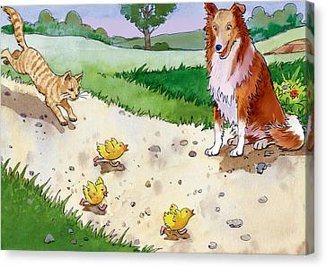 Cat Chasing Chicks Canvas Print by Valer Ian