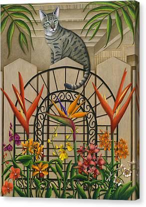 Cat Cheetah's Fence Canvas Print by Carol Wilson