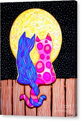 Cat Couple Full Moon Canvas Print by Nick Gustafson