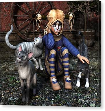Cat Girl Canvas Print by Jutta Maria Pusl