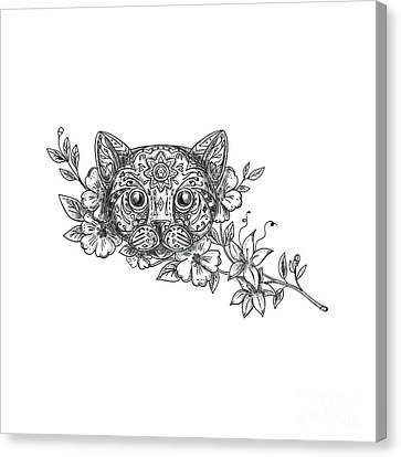 Cat Head Jasmine Flower Tattoo Canvas Print by Aloysius Patrimonio