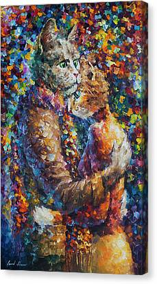 Cat Hug   Canvas Print by Leonid Afremov