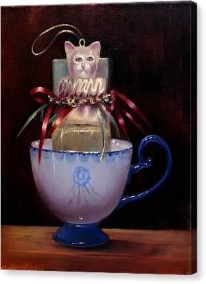 Cat In A Cup Canvas Print by Loretta Fasan