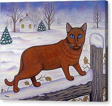 Christmas Canvas Print - Cat In Christmas Landscape by Linda Mears