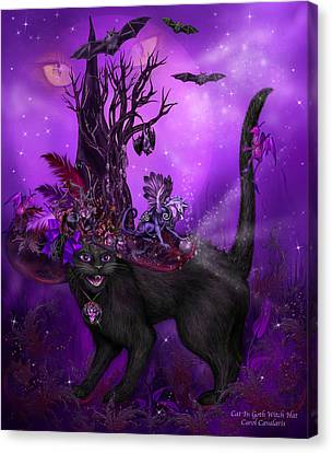 Cat In Goth Witch Hat Canvas Print by Carol Cavalaris