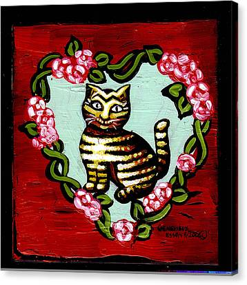 Cat In Heart Wreath 2 Canvas Print by Genevieve Esson