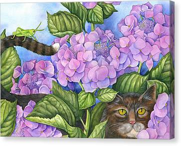 Cat In The Garden Canvas Print by Mindy Lighthipe
