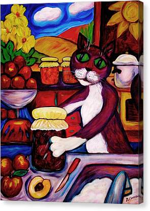 Canvas Print featuring the painting Cat In The Kitchen Bottling Fruit by Dianne  Connolly