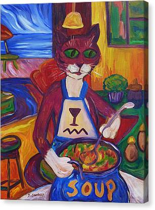 Cat In The Kitchen Making Soup Canvas Print