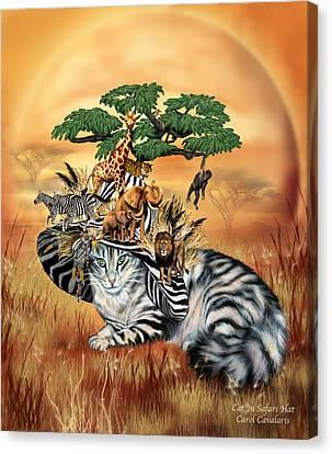 Cat In The Safari Hat Canvas Print by Carol Cavalaris